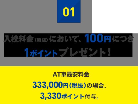 01:入校料金(税抜)において、100円につき1ポイントプレゼント!
